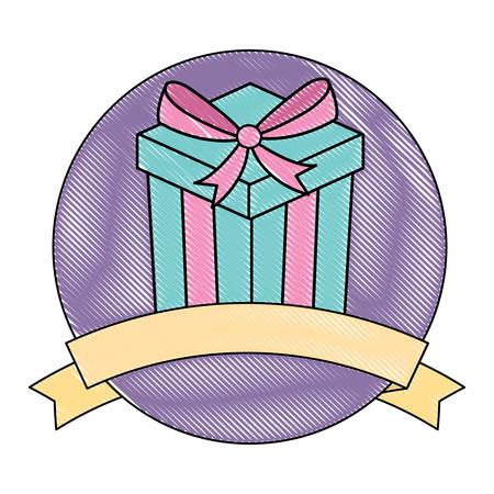 emblem with gift box icon and decorative ribbon over white background, colorful design.  vector illustration Illustration