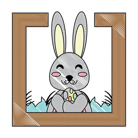 decorative frame with cute rabbit adn easter eggs over white background, vector illustration Stock Illustratie