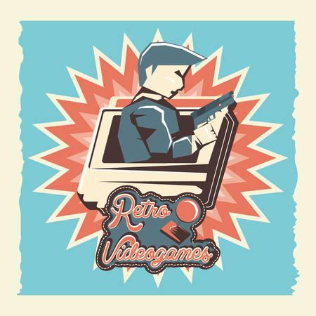 Videojuegos retro figthers, diseño de ilustraciones vectoriales