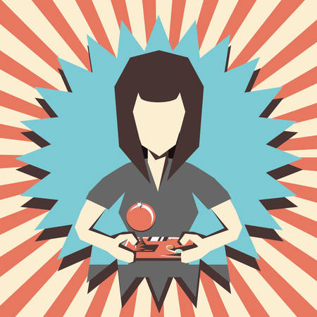 woman playing video game retro vector illustration design
