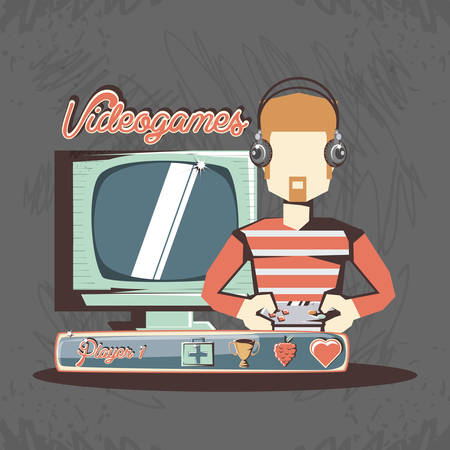 man playing video game retro vector illustration design