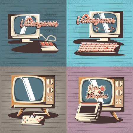 video game retro set icons vector illustration design