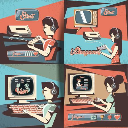 personas que juegan al videojuego ilustración vectorial de diseño retro