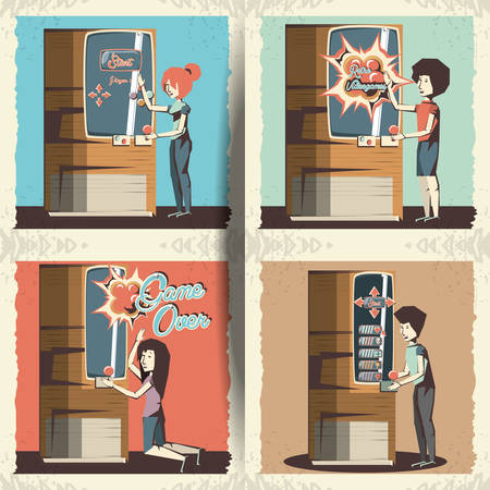 people playing video game retro vector illustration design