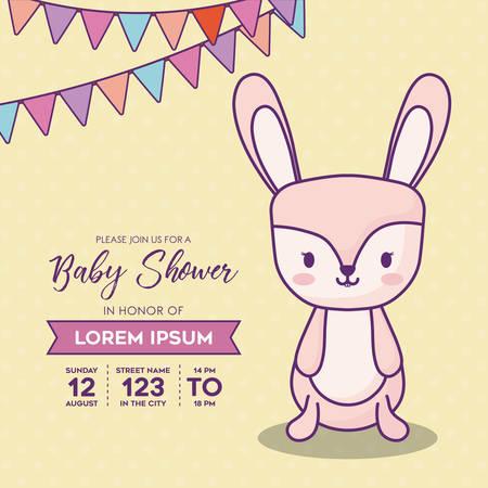 Plantilla de invitación de baby shower con banderines decorativos y lindo conejo sobre fondo amarillo, diseño colorido. ilustración vectorial