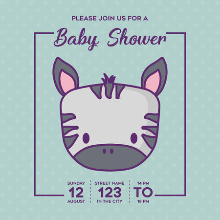 Baby shower invitation with cute zebra icon over blue background, colorful design. vector illustration