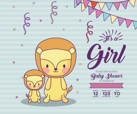 0c8b19d4162 Baby shower invitation with its a girl concept with cute lions over blue  background