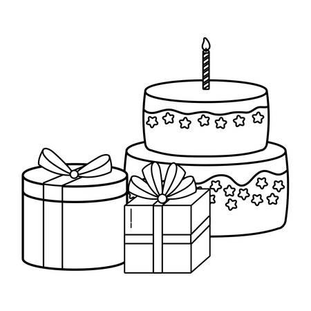 Gift boxes and birthday cake over white background, vector illustration
