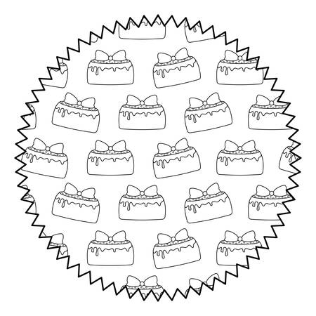 seal stamp with birthday cake design over white background, vector illustration