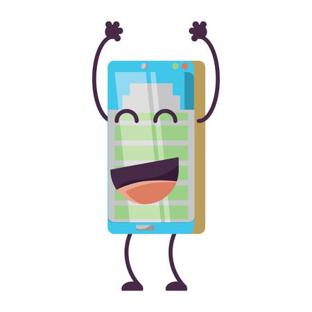 cartoon smartphone with battery level icon over white background, vector illustration