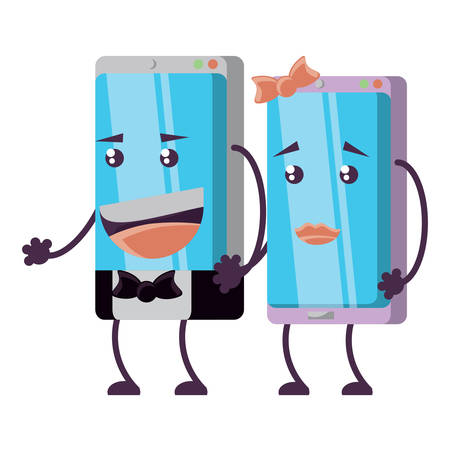 Cartoon elegant couple of smartphones over white background, vector illustration