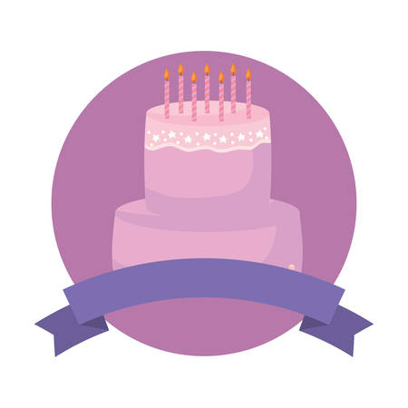 emblem with decorative ribbon and birthday cake icon over white background, vector illustration