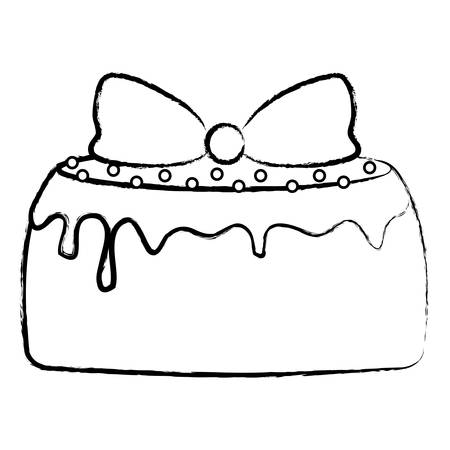 birthday cake icon over white background, vector illustration