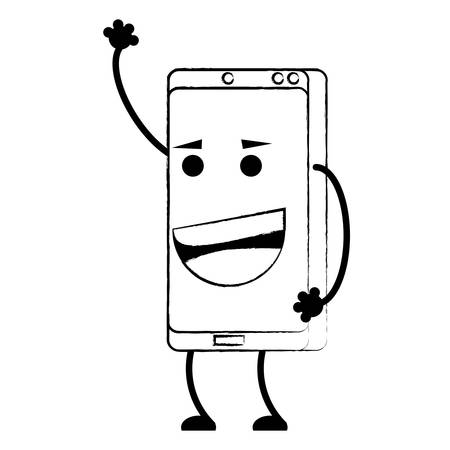 Cartoon happy smartphone over white background, vector illustration