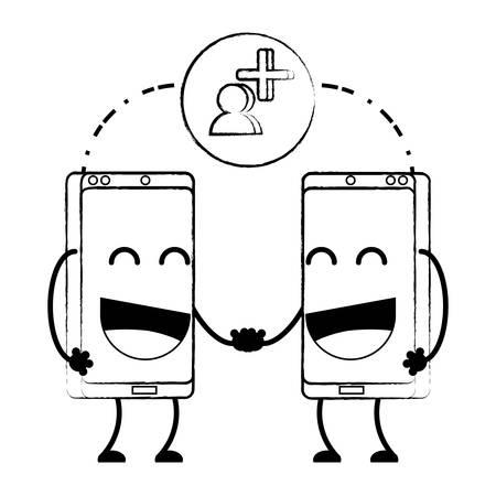 Cartoon happy smartphones over white background, vector illustration