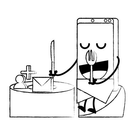 Cartoon smartphone sitting on the table over white background, vector illustration
