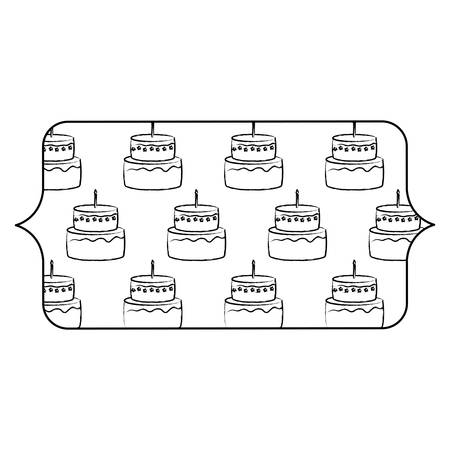 banner with cakes with candles pattern over white background, vector illustration