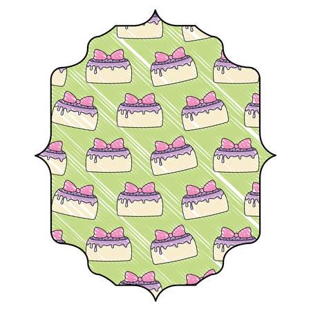 arabic frame with birthday cake design over white background, vector illustration Illustration