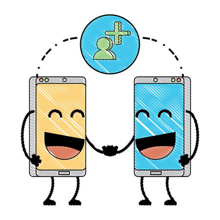 Cartoon happy smartphones over white background, vector illustration
