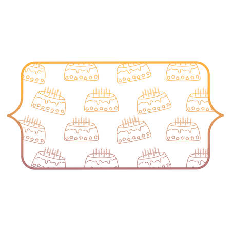 banner with Birthday cake pattern over white background, vector illustration