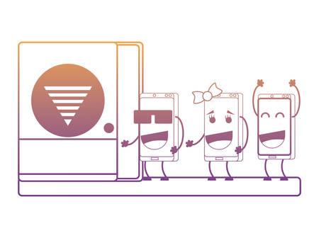 Cartoon happy smartphones in wifi zone over white background, vector illustration