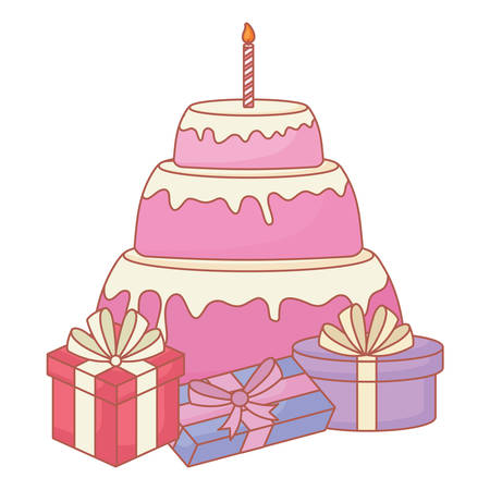 Birthday cake and gift boxes over white background, vector illustration