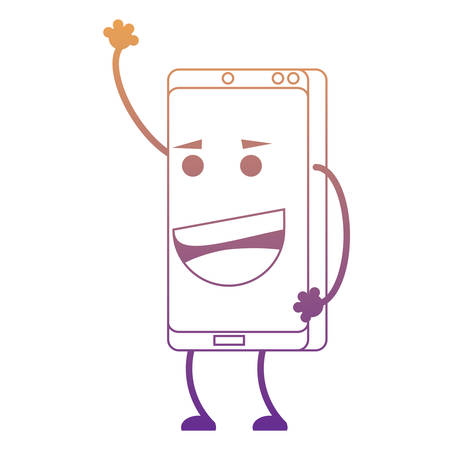 Cartoon happy smartphone over white background, colorful design. vector illustration