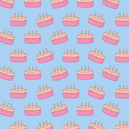 Background of Birthday cake pattern, vector illustration
