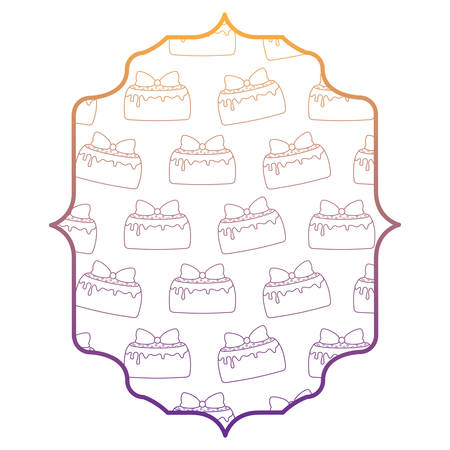 arabic frame with cakes with candles pattern over white background, vector illustration