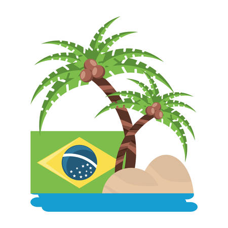 tropical palms and brazilian flag over white background, vector illustration Imagens - 102505588