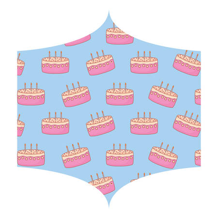 decorative frame with Birthday cake pattern over white background, vector illustration