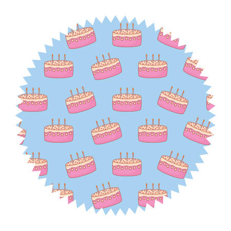 seal stamp with Birthday cake pattern over white background, vector illustration
