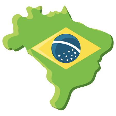 brazil map with brazilian flag design over white background, vector illustration