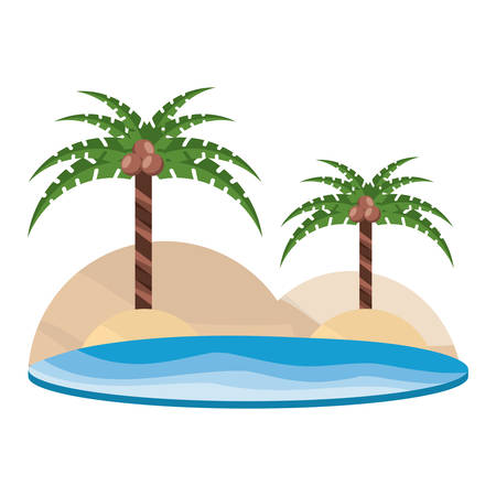 beach with tropical palms over white background, vector illustration