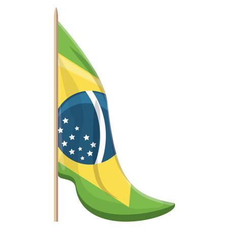 brazilian flag icon over white background, vector illustration
