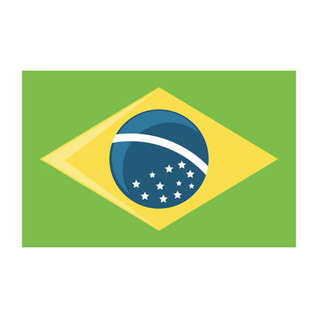 Brazil flag icon over white background, vector illustration Imagens - 102492235