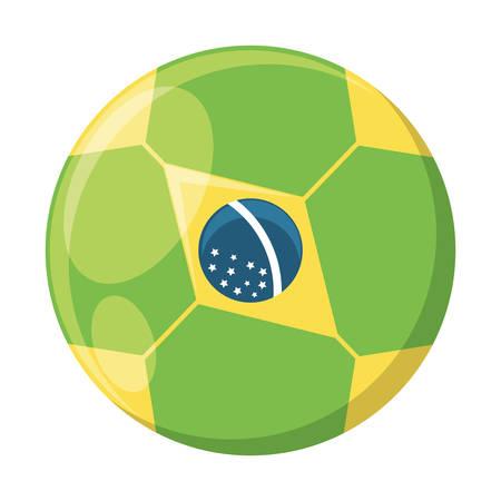 soccer ball with brazilian flag design over white background, vector illustration