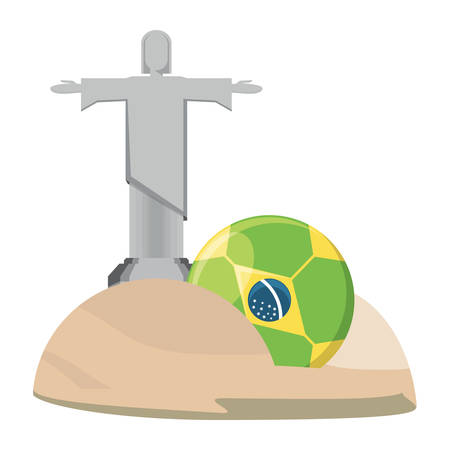 Christ the Redeemer statue and soccer ball with brazilian flag design over white background, vector illustration