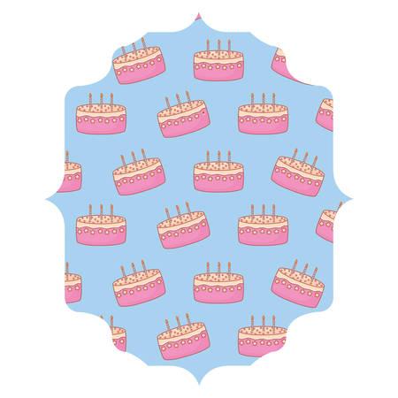 arabic frame with Birthday cake pattern over white background, vector illustration Illustration