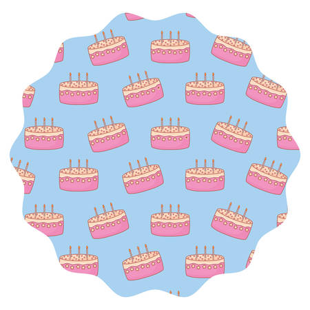 circular frame with Birthday cake pattern over white background, vector illustration