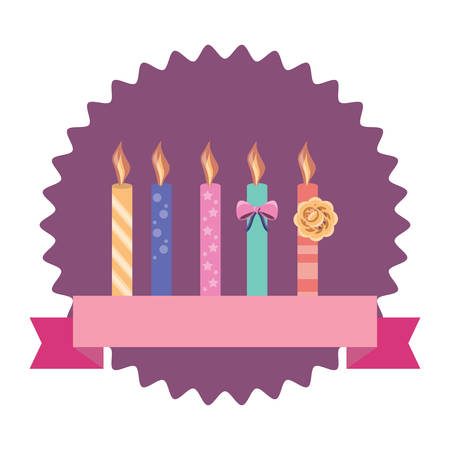 seal stamp with birthday candles and decorative ribbon over white background, vector illustration