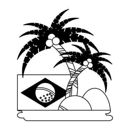 tropical palms and brazilian flag over white background, vector illustration Imagens - 102491671