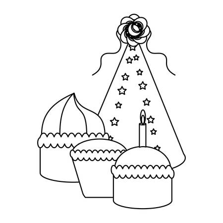 party hat and birthday cupcakes over white background, vector illustration Illustration