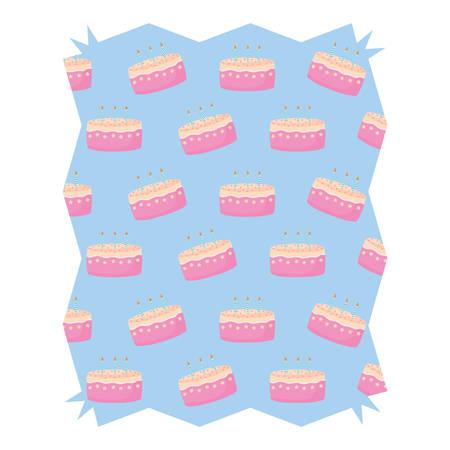 abstract frame with Birthday cake pattern over white background, vector illustration Ilustração