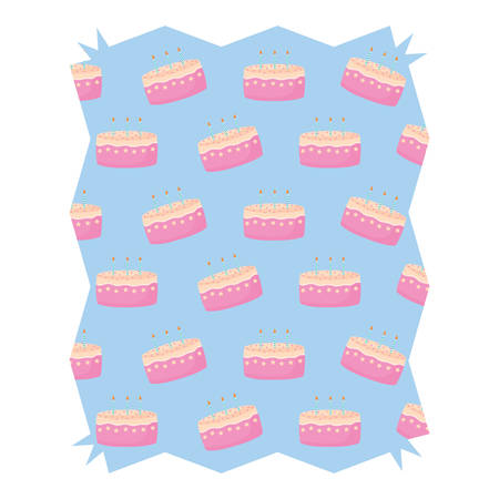 abstract frame with Birthday cake pattern over white background, vector illustration Illustration