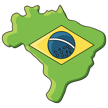 brazil map with brazilian flag design over white background, vector illustration Imagens - 102515224