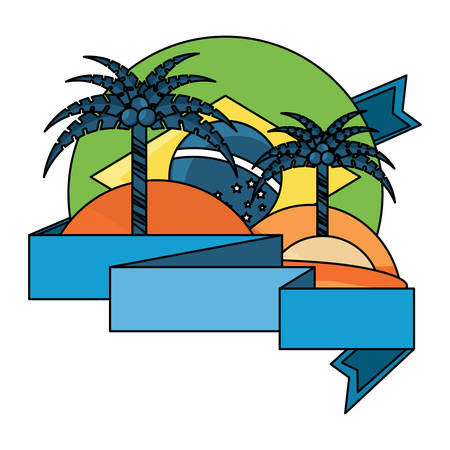 emblem with beach and brazilian flag over white background, vector illustration Imagens - 102520325