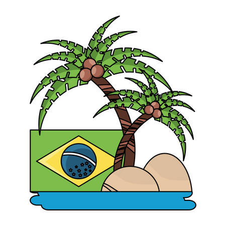 tropical palms and brazilian flag over white background, vector illustration