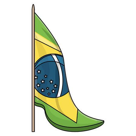 Brazil flag icon over white background, vector illustration Imagens - 102520426