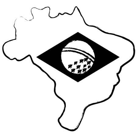 brazil map with brazilian flag design over white background, vector illustration Imagens - 102491877